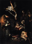 Caravaggio Nativity with St Francis and St Lawrence